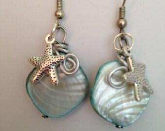 Aqua Shell Handmade Starfish Earrings