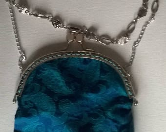 Fancy silver metal chain and turquoise silk brocade evening bag