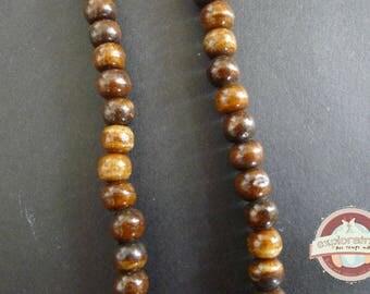 50 PC wood beads 7mm Brown bone