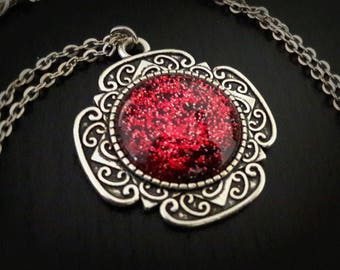 Pink glitter Galaxy Rose cabochon 20mm painted glass necklace