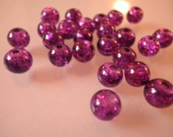 25 cracked glass beads purple 6 mm