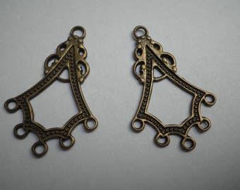 2 charms 5 connector 38 x 25 mm bronze metal holes