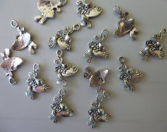 Set of 5 silver metal hat charms