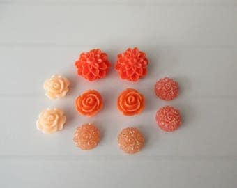 orange 10 cabochone resin flowers to paste colors