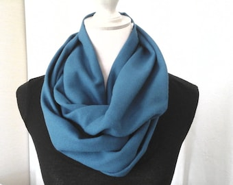 Scarf/snood/collar/Choker in beautiful 100% blue wool crepe fabric