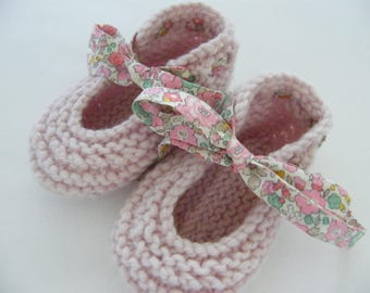 Wool & cashmere slippers, LIBERTY Betsy Ann rose