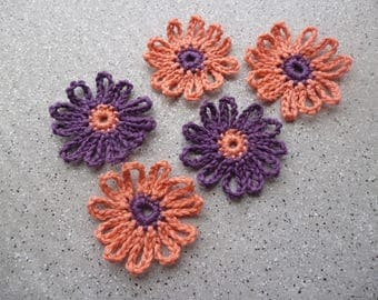 5 ravissantes flowers crocheted cotton made by hand