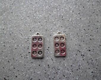 Lot de 2 breloques domini en métal argenté, pendentif, médaillon