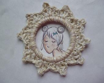 Handmade crocheted cotton ecru color round frame