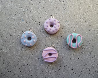 Set of 4 donuts in fimo made by hand without mold, cake fimo polymer clay
