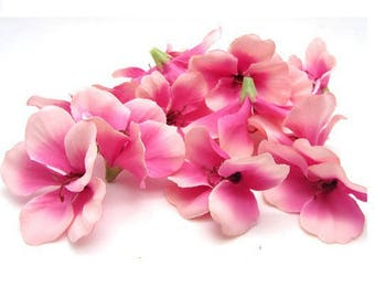 Lot 10 begonias 6 cm fabric ROSES decor - artificial flowers for active - Mariage - color pink light designs