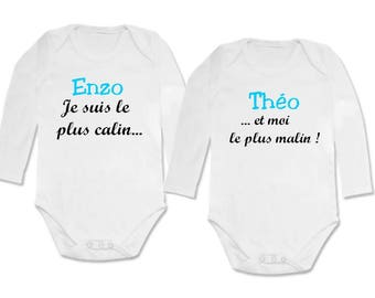 twin Bodysuit set I am the most cuddly and me... personalized with name