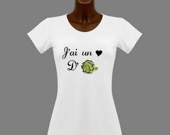 T-shirt women white humor j ' have an artichoke heart