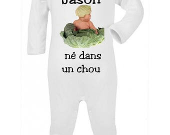 Pajamas baby born in a cabbage personalized with name
