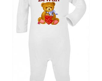 Pajamas baby Teddy bear heart personalized with name