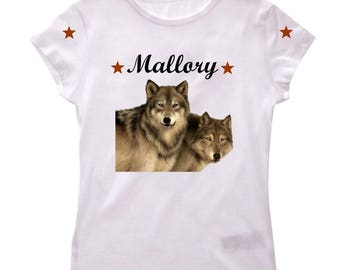 Wolf girl shirt tee personalized with name