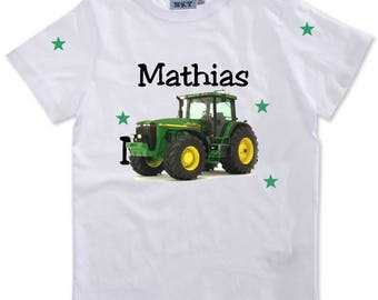 Boy tractor personalized with name t-shirt