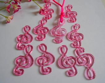 x 10 Pearl Pink acrylic music note