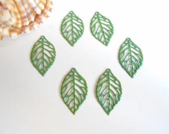 set of 6 prints enameled green glittery blue leaves