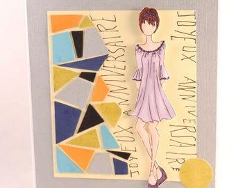 woman, girl, teen, mosaic birthday card, triangles.