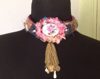 "Textile art ""for a flower girl"" necklace"