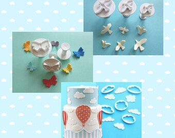 Set of Cutter: in the sky - clouds, butterflies, doves (set of 11 pieces)