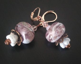 Earrings - Lilac purple - Lampwork Glass