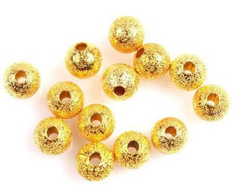 50 beautiful beads color gold iridescent 5mm