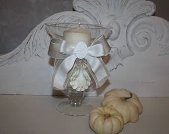 Candle glass footed glow charm!
