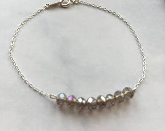 Bracelet Silver 925 beads faceted several colors