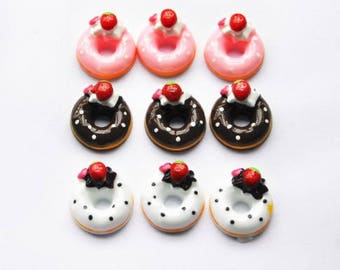 20pcs donut DIY Miniature Artificial Fake Food Cake Resin Cabochon Scrapbooking for diy decoration