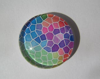 Cabochons 25 mm with a multicoloured mosaic pattern