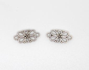 Flower, silver, rectangle connector