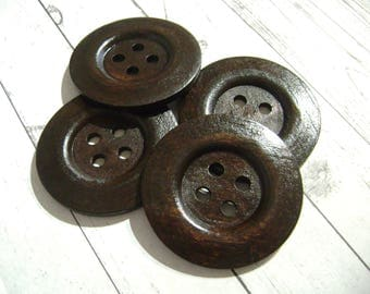 Large dark wood buttons