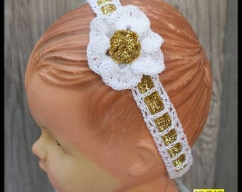 Crochet baby flower headband: white and gold glitter velvet Ribbon