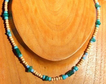 Choker necklace mixed inspired Surf - wood beads - semi precious beads