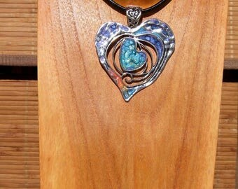 Leather Choker necklace and pendant heart Bohemian hand painted