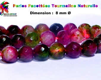 6-8 mm in diameter green Burgundy Fuchsia natural Tourmaline faceted rounds