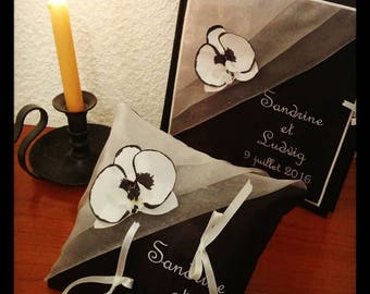 ring bearer pillow book black and white gold