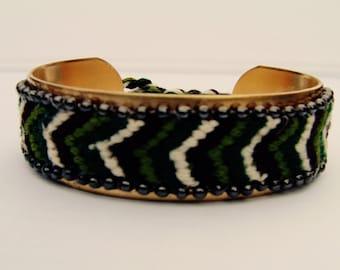 Rigid brass and Brazilian style Cuff Bracelet