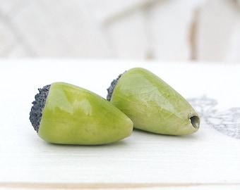 Pearl drops, raku pottery, green lime 2 X