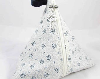 Cherry liberty fashion floral pouch beige and Navy