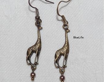 Giraffe jewelry Animal earrings on etsy for girl