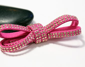 Fuchsia - Suede studded cord double Gold 5mm