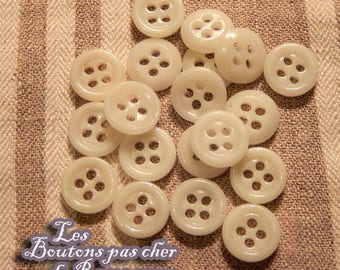 11 mm - 20 vintage buttons in molten glass 4 - holes buttons not cheap