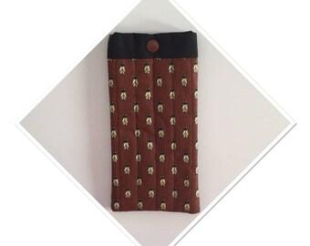 Cicada printed Brown provencal cotton glasses case