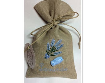 EMBROIDERED WITH CICADA LINEN LAVENDER BAG