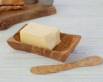 A butter dish made with olive wood