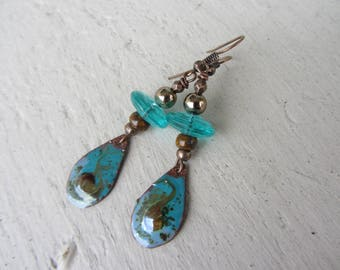 ethnic dangle earrings copper enamel, Czech glass picasso beads, turquoise and Amber Brown