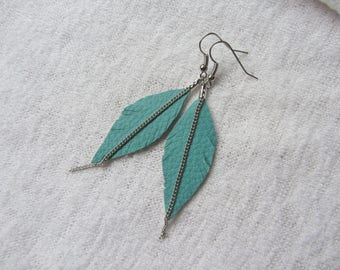 Earrings feather turquoise blue leatherette with long silver chain, light and refined earrings